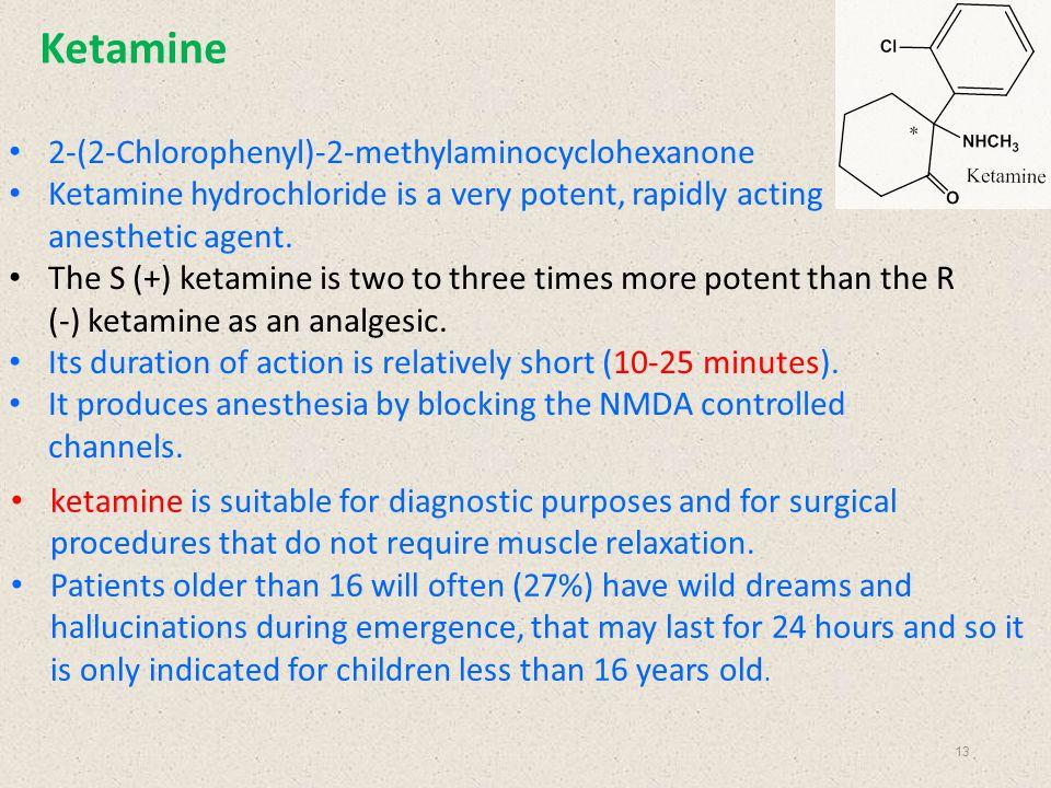 Ketamine 2-(2-Chlorophenyl)-2-methylaminocyclohexanone Ketamine hydrochloride is a very potent, rapidly acting anesthetic agent. The S (+) ketamine is