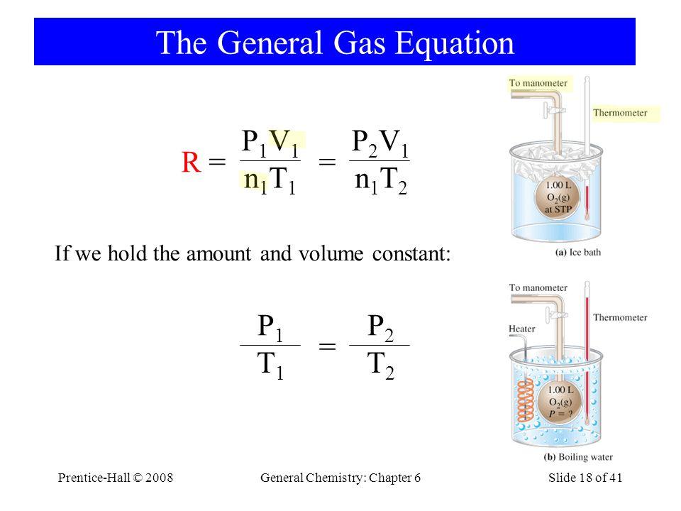 Prentice-Hall © 2008General Chemistry: Chapter 6Slide 18 of 41 The General Gas Equation R =R = = P2V1P2V1 n1T2n1T2 P1V1P1V1 n1T1n1T1 = P2P2 T2T2 P1P1