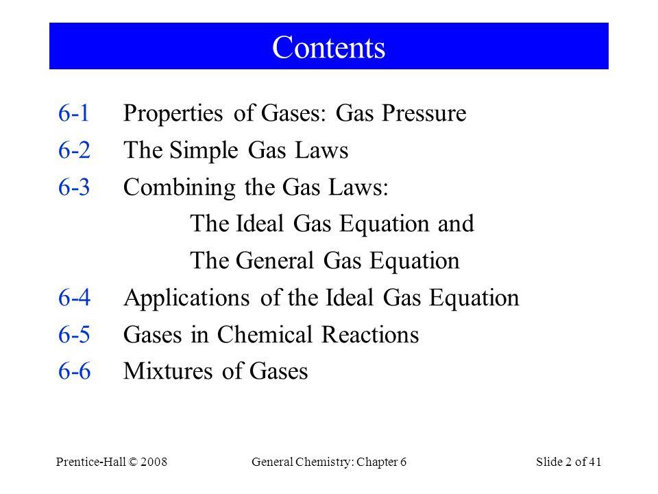 General Chemistry: Chapter 6Slide 53 of 41 van der Waals Equation van der Waals Coefficients Gasa (Pa m 6 /mol 2 )b(m 3 /mol) Helium0.003624.1 · 10 -6 Neon0.021217.1 · 10 -6 Hydrogen0.024526.6 · 10 -6 Carbon dioxide0.36642.8 · 10 -6 Water vapor0.55230.4 · 10 -6 CH 4 0.22842.8· 10 -6