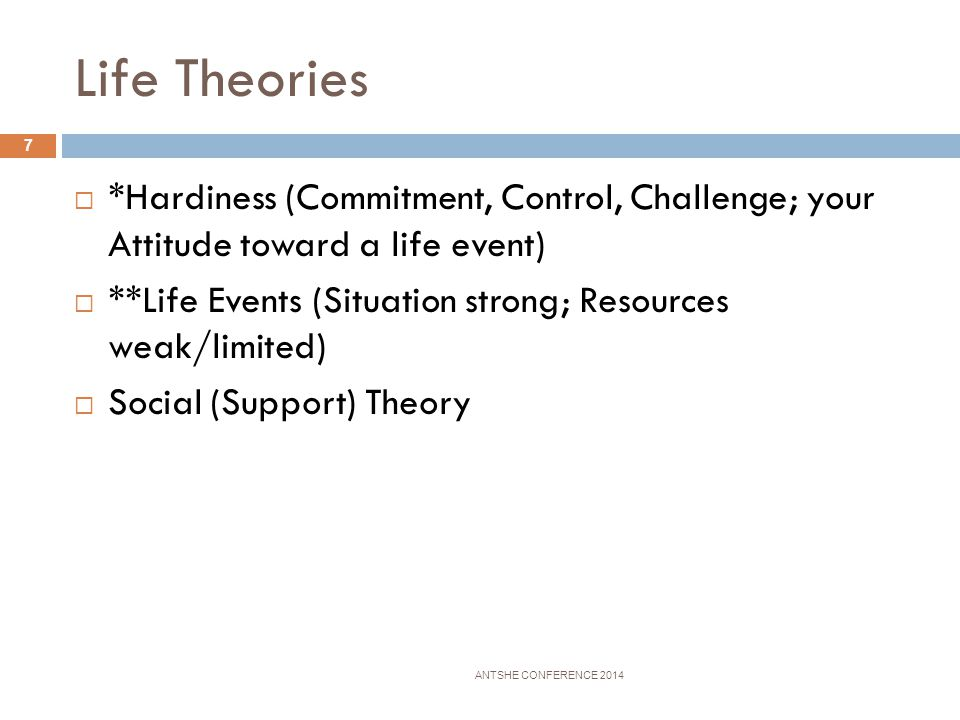 Coping Theories ANTSHE CONFERENCE 2014 6 *Fig ht or Flight Response Survival mode from a threat, danger, harm Signs: heart racing, sweat, fear, nervou