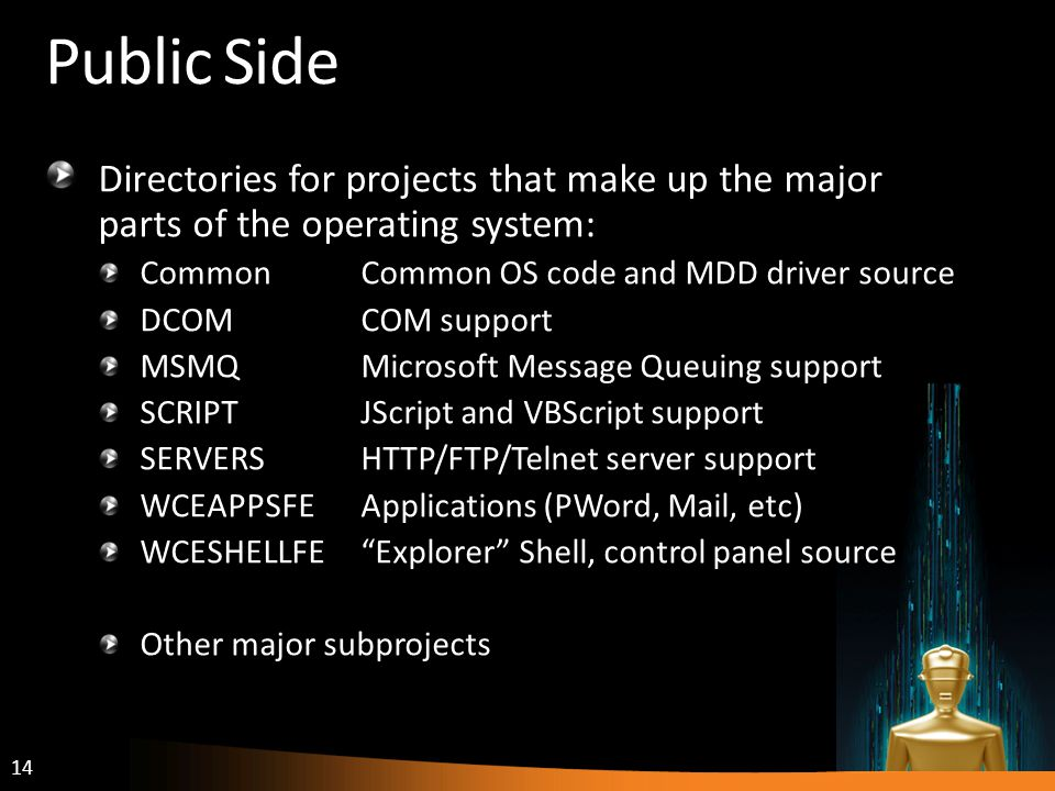 14 Public Side Directories for projects that make up the major parts of the operating system: CommonCommon OS code and MDD driver source DCOMCOM support MSMQMicrosoft Message Queuing support SCRIPTJScript and VBScript support SERVERSHTTP/FTP/Telnet server support WCEAPPSFEApplications (PWord, Mail, etc) WCESHELLFEExplorer Shell, control panel source Other major subprojects