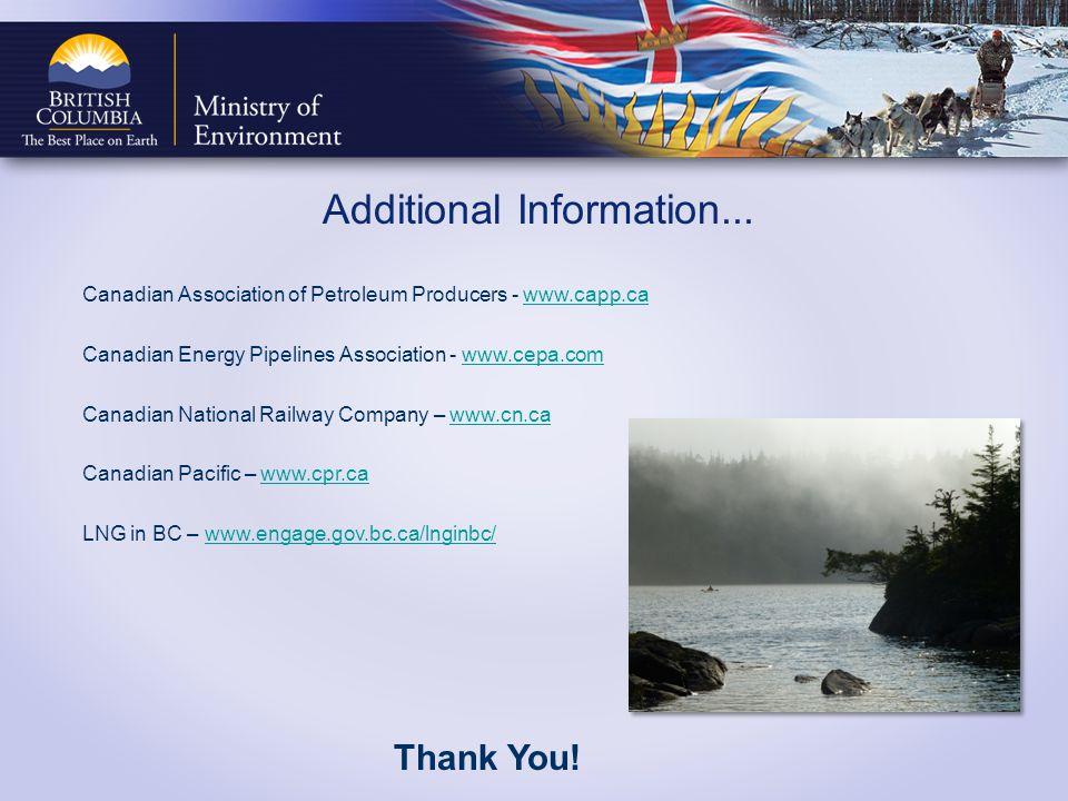 Additional Information... Canadian Association of Petroleum Producers - www.capp.cawww.capp.ca Canadian Energy Pipelines Association - www.cepa.comwww