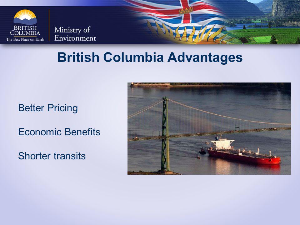 British Columbia Advantages Better Pricing Economic Benefits Shorter transits