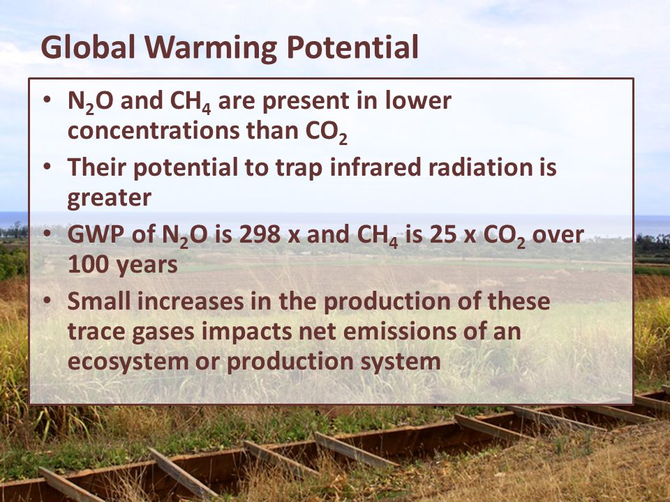 Global Warming Potential N 2 O and CH 4 are present in lower concentrations than CO 2 Their potential to trap infrared radiation is greater GWP of N 2