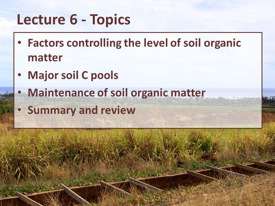 Lecture 6 - Topics Factors controlling the level of soil organic matter Major soil C pools Maintenance of soil organic matter Summary and review