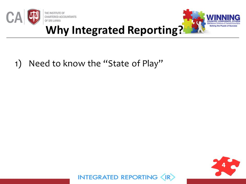 4 Why Integrated Reporting 1)Need to know the State of Play
