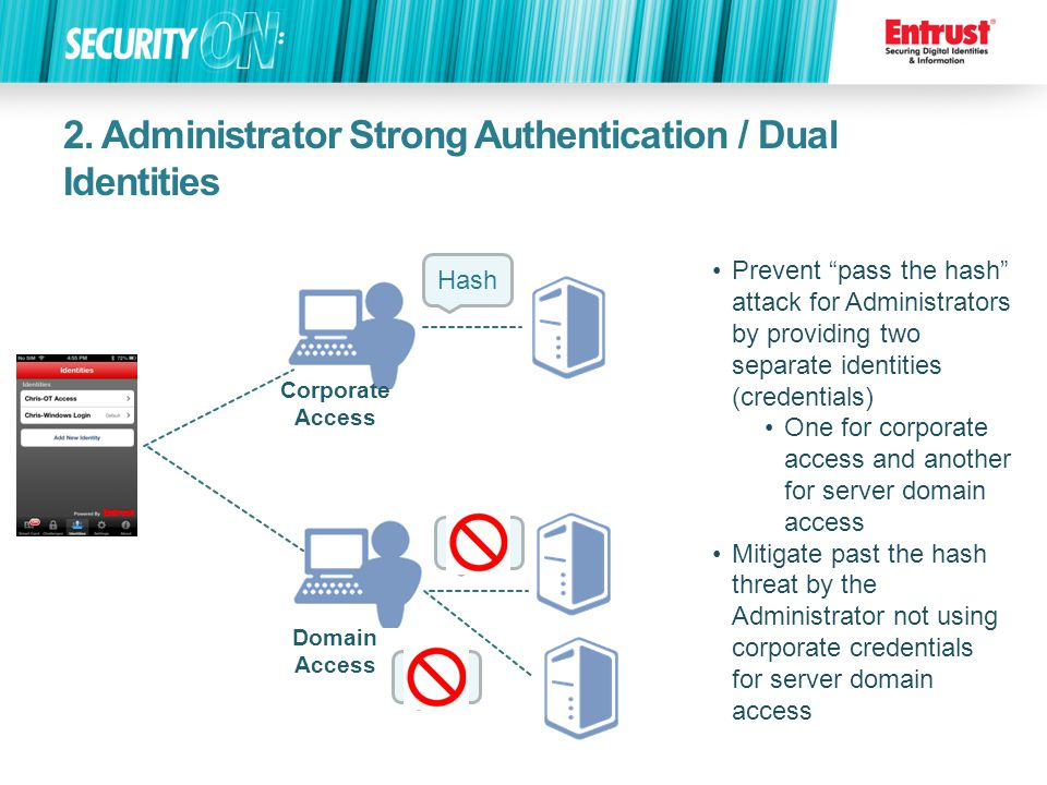 2. Administrator Strong Authentication / Dual Identities Prevent pass the hash attack for Administrators by providing two separate identities (credent