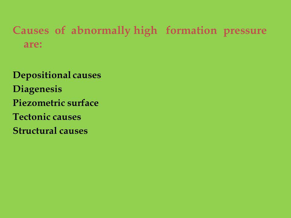 Causes of abnormally high formation pressure are: Depositional causes Diagenesis Piezometric surface Tectonic causes Structural causes