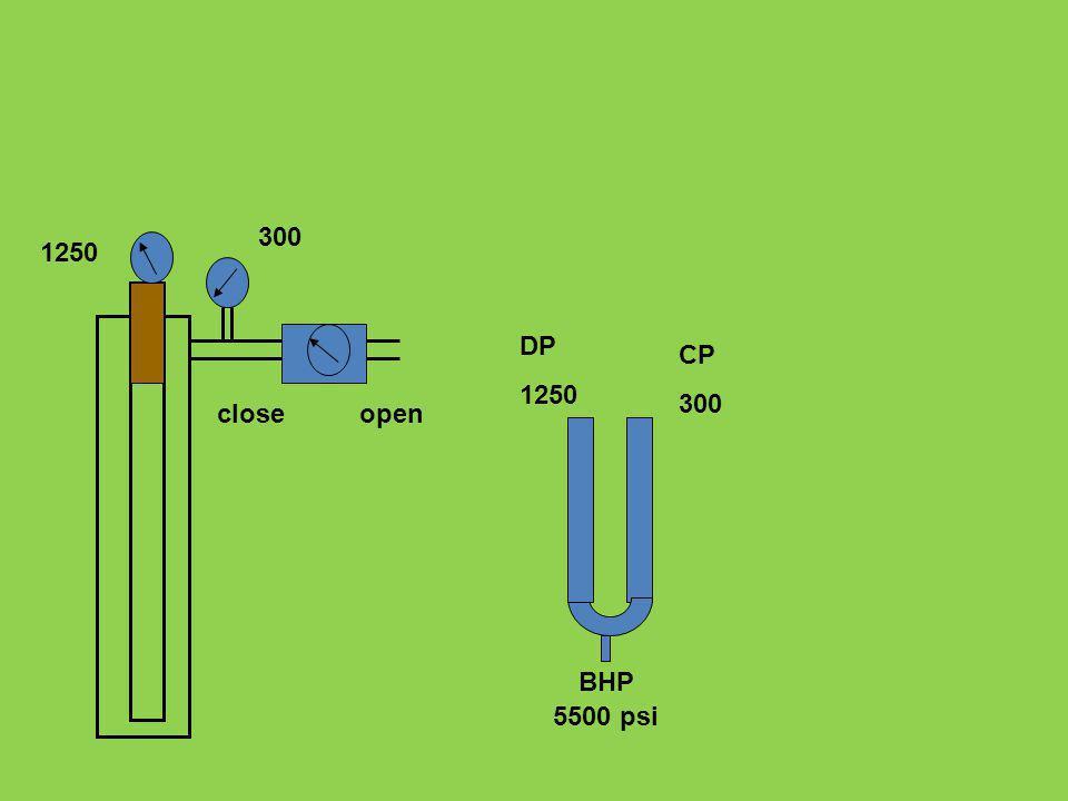 DP 1250 CP 300 5500 psi BHP 1250 300 closeopen