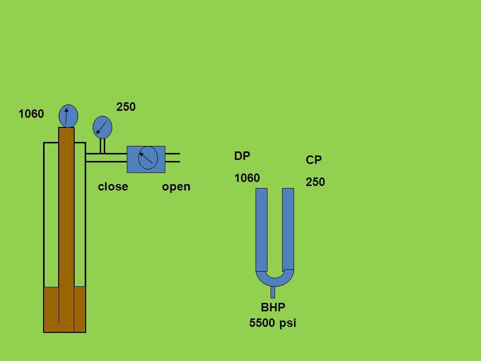 DP 1060 CP 250 5500 psi BHP 1060 250 closeopen