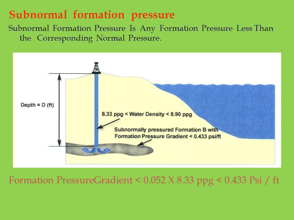 Subnormal formation pressure Subnormal Formation Pressure Is Any Formation Pressure Less Than the Corresponding Normal Pressure. Formation PressureGra