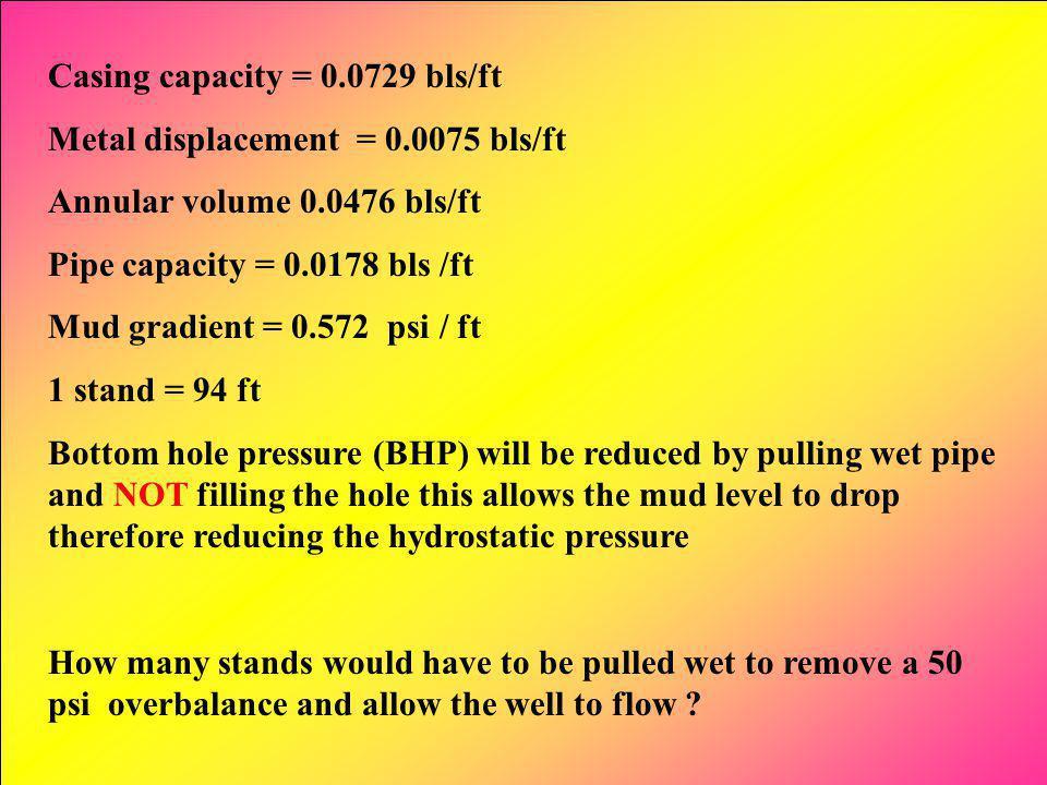 Casing capacity = 0.0729 bls/ft Metal displacement = 0.0075 bls/ft Annular volume 0.0476 bls/ft Pipe capacity = 0.0178 bls /ft Mud gradient = 0.572 ps
