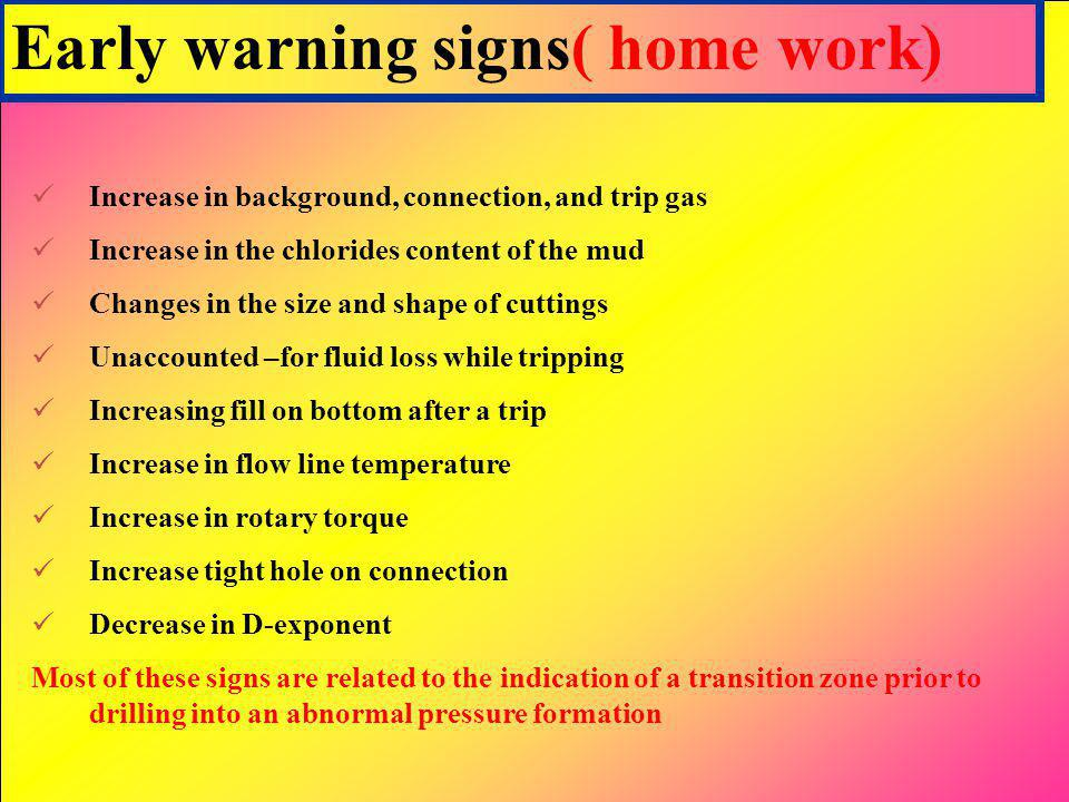 Early warning signs( home work) Increase in background, connection, and trip gas Increase in the chlorides content of the mud Changes in the size and