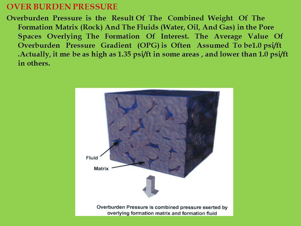OVER BURDEN PRESSURE Overburden Pressure is the Result Of The Combined Weight Of The Formation Matrix (Rock) And The Fluids (Water, Oil, And Gas) in t