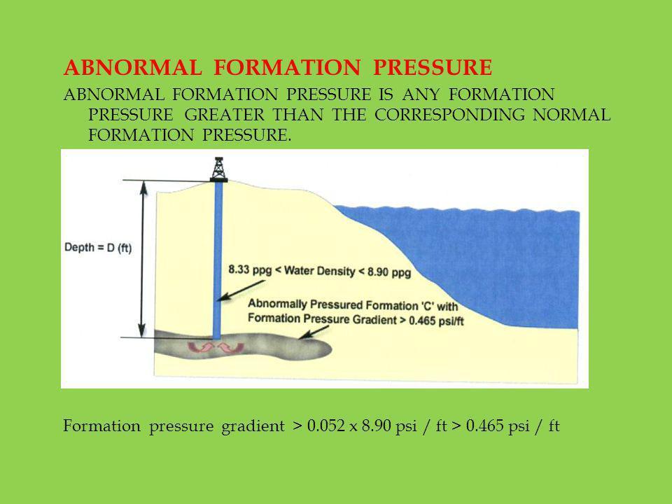 ABNORMAL FORMATION PRESSURE ABNORMAL FORMATION PRESSURE IS ANY FORMATION PRESSURE GREATER THAN THE CORRESPONDING NORMAL FORMATION PRESSURE. Formation