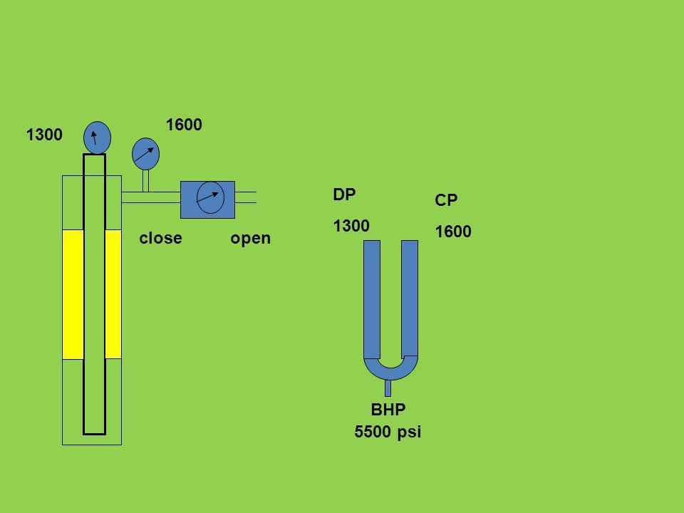DP 1300 CP 1600 5500 psi BHP 1300 1600 closeopen