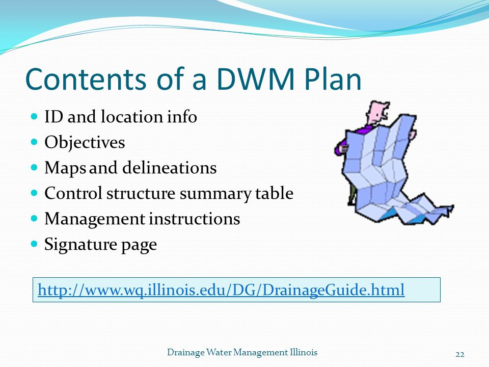 Contents of a DWM Plan ID and location info Objectives Maps and delineations Control structure summary table Management instructions Signature page ht