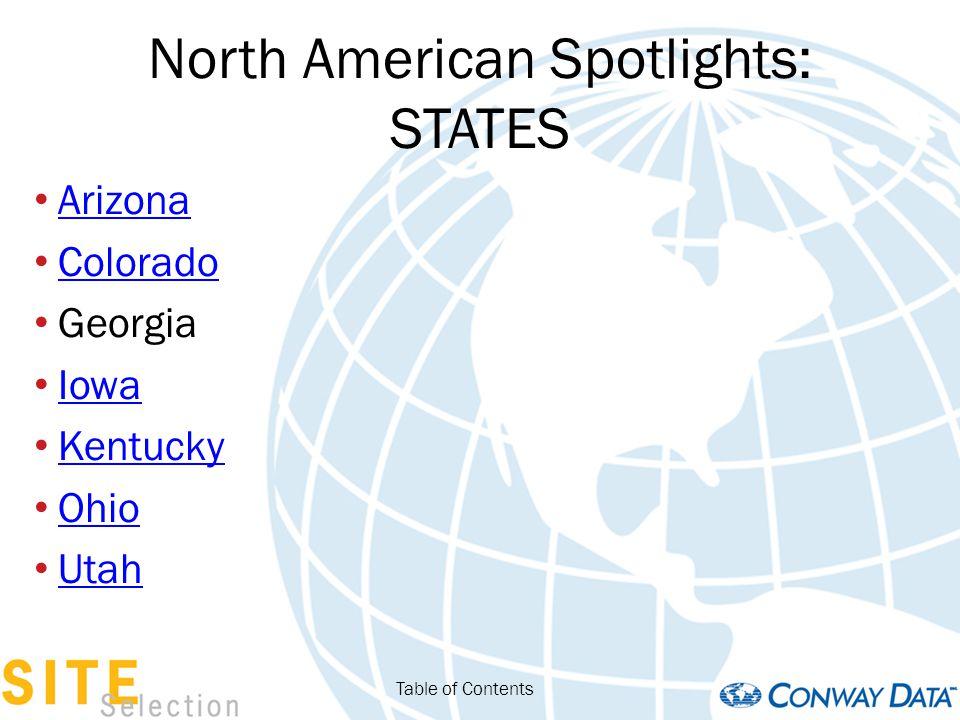 North American Spotlights: STATES Arkansas Louisiana Missouri New Jersey Oklahoma Tennessee West Virginia Table of Contents
