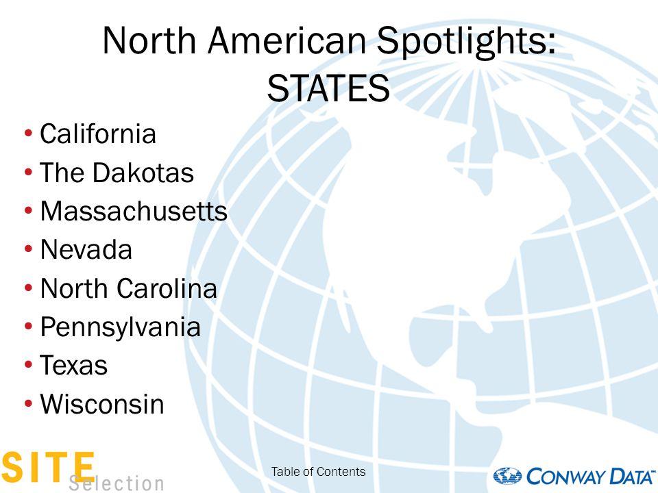 North American Spotlights: STATES Kansas Montana Nebraska New York (Upstate) Virginia Washington Table of Contents