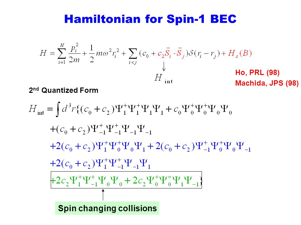 Hamiltonian for Spin-1 BEC Ho, PRL (98) Machida, JPS (98) Spin changing collisions 2 nd Quantized Form