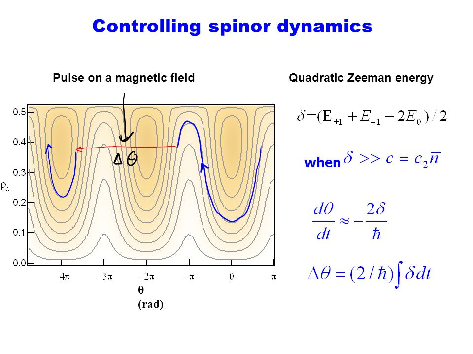 Controlling spinor dynamics Quadratic Zeeman energy θ (rad) when Pulse on a magnetic field