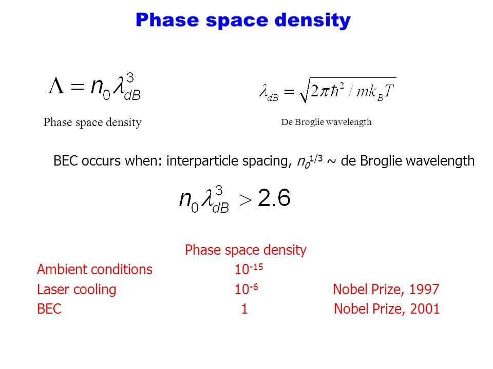 Phase space density BEC occurs when: interparticle spacing, n 0 1/3 ~ de Broglie wavelength Phase space density Ambient conditions10 -15 Laser cooling10 -6 Nobel Prize, 1997 BEC 1 Nobel Prize, 2001 Phase space density De Broglie wavelength