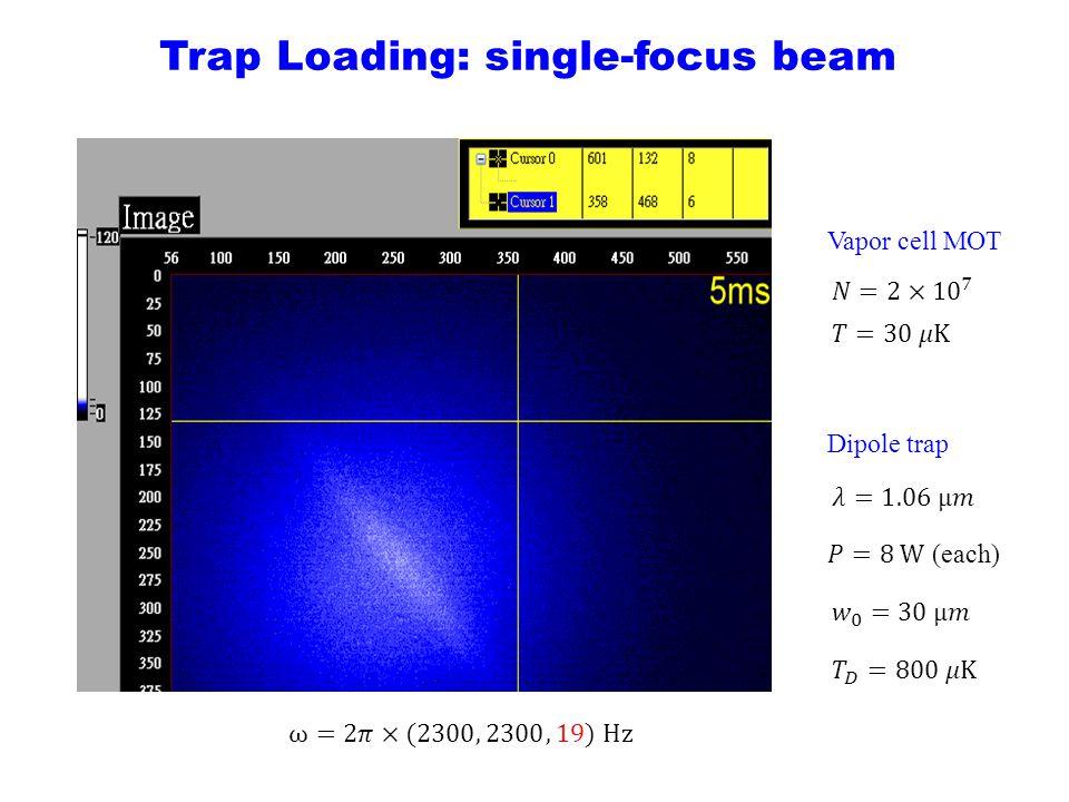 Trap Loading: single-focus beam Vapor cell MOT Dipole trap