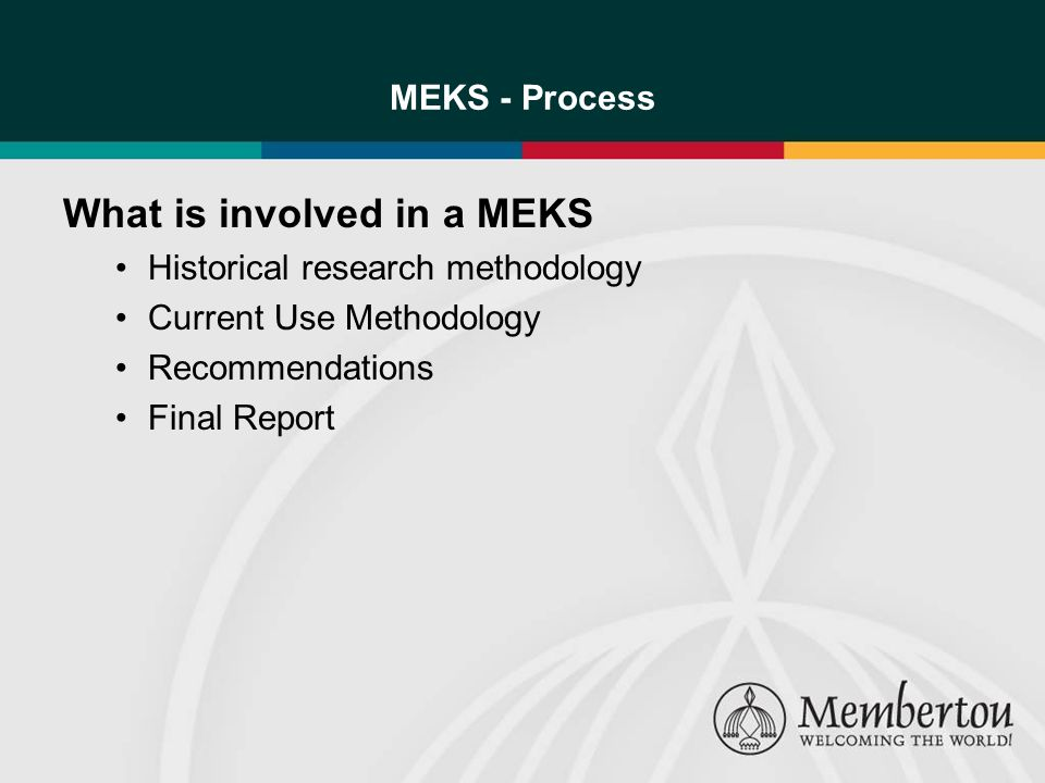 MEKS - Process What is involved in a MEKS Historical research methodology Current Use Methodology Recommendations Final Report