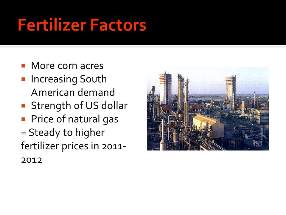 More corn acres Increasing South American demand Strength of US dollar Price of natural gas = Steady to higher fertilizer prices in 2011- 2012