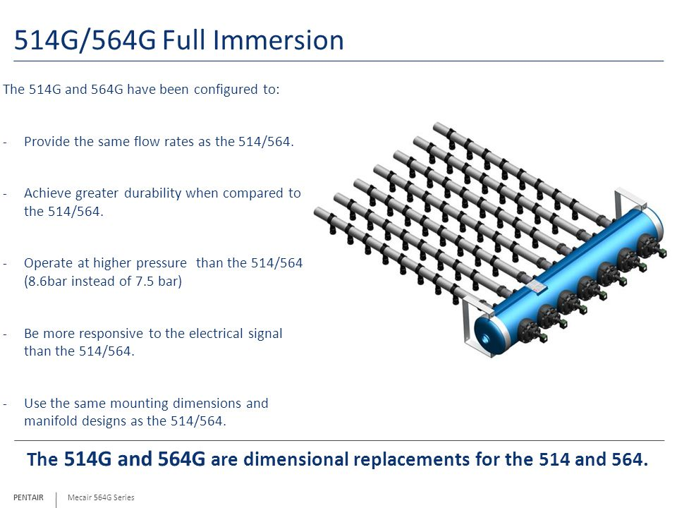 PENTAIR 514G/564G Full Immersion The 514G and 564G have been configured to: - Provide the same flow rates as the 514/564.