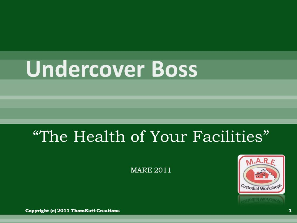 The Health of Your Facilities MARE 2011 Copyright (c) 2011 ThomKatt Creations1