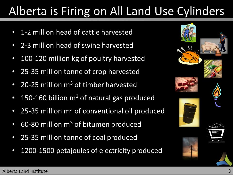 Alberta is Firing on All Land Use Cylinders 1-2 million head of cattle harvested 1-2 million head of cattle harvested 2-3 million head of swine harves