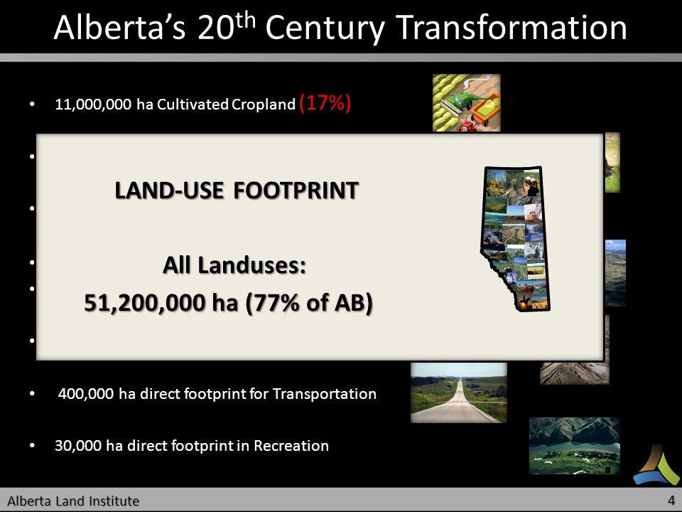 Albertas 20 th Century Transformation 11,000,000 ha Cultivated Cropland (17%) 11,000,000 ha Cultivated Cropland (17%) 14,000,000 ha for Livestock Grazing Lands (21%) 14,000,000 ha for Livestock Grazing Lands (21%) 24,200,000 ha of ABs Forests within FMA (36%) 24,200,000 ha of ABs Forests within FMA (36%) 225,000 ha for Cities and Towns 225,000 ha for Cities and Towns 340,000 ha in Acreages 340,000 ha in Acreages 1,100,000 ha direct footprint for Energy Sector 1,100,000 ha direct footprint for Energy Sector 400,000 ha direct footprint for Transportation 400,000 ha direct footprint for Transportation 30,000 ha direct footprint in Recreation 30,000 ha direct footprint in Recreation LAND-USE FOOTPRINT LAND-USE FOOTPRINT All Landuses: All Landuses: 51,200,000 ha (77% of AB) 51,200,000 ha (77% of AB) Alberta Land Institute 4