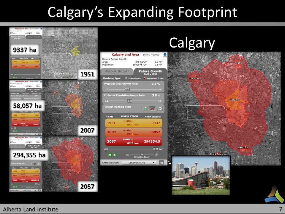 Calgarys Expanding Footprint 9337 ha 58,057 ha 294,355 ha 1951 2007 2057 Calgary Alberta Land Institute 7