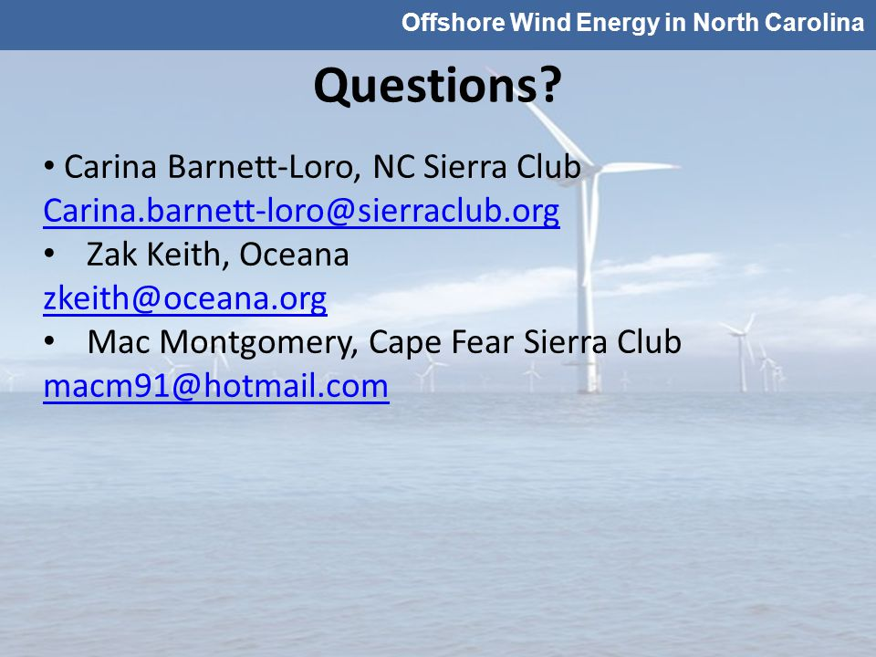 Offshore Wind Energy in North Carolina Questions.