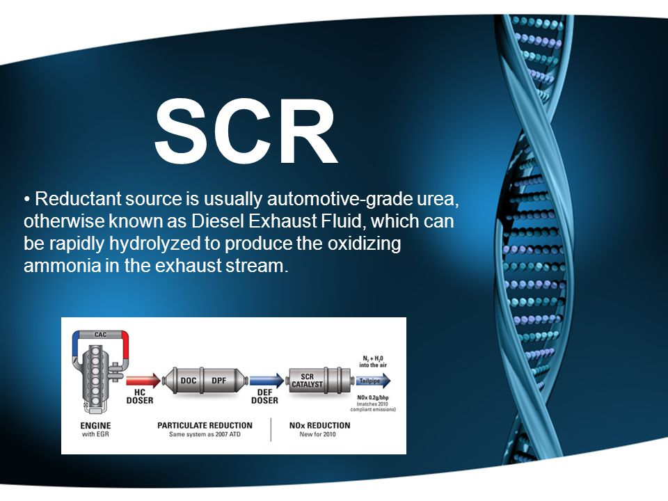SCR Reductant source is usually automotive-grade urea, otherwise known as Diesel Exhaust Fluid, which can be rapidly hydrolyzed to produce the oxidizing ammonia in the exhaust stream.