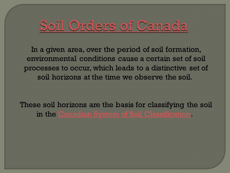 In a given area, over the period of soil formation, environmental conditions cause a certain set of soil processes to occur, which leads to a distinct
