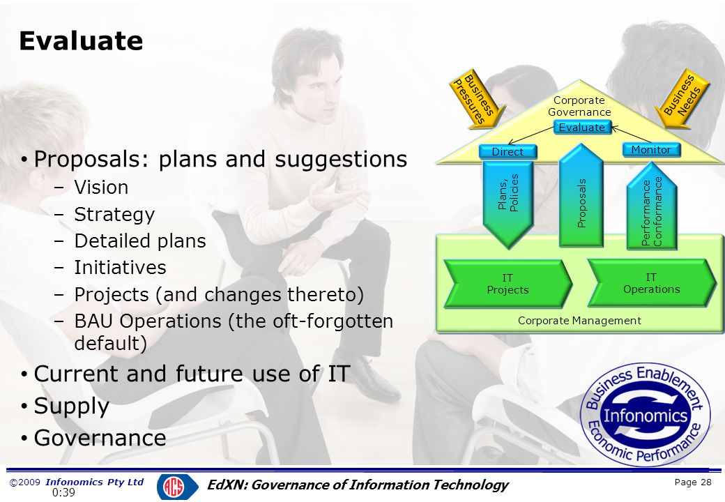 ©2009 Infonomics Pty Ltd EdXN: Governance of Information Technology Policy to guide management decisions.