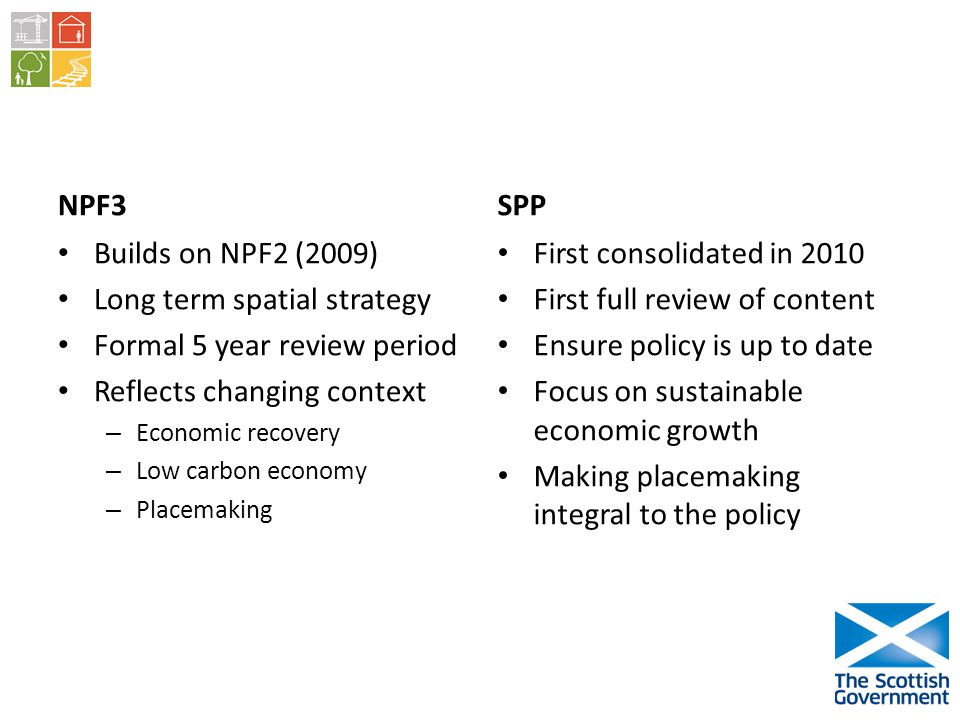 NPF3 Builds on NPF2 (2009) Long term spatial strategy Formal 5 year review period Reflects changing context – Economic recovery – Low carbon economy – Placemaking SPP First consolidated in 2010 First full review of content Ensure policy is up to date Focus on sustainable economic growth Making placemaking integral to the policy