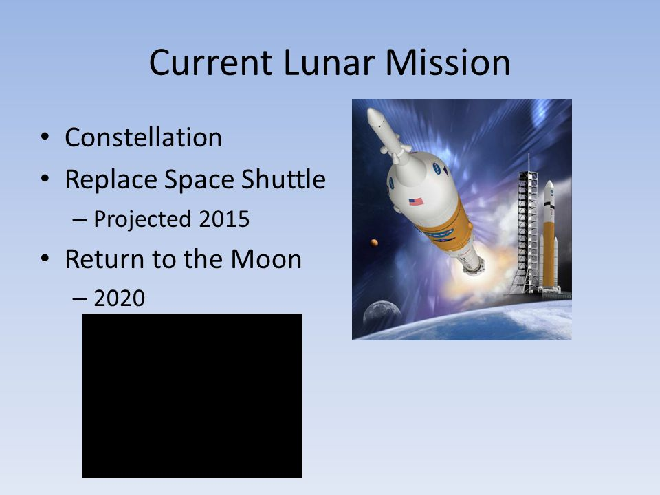 Current Lunar Mission Constellation Replace Space Shuttle – Projected 2015 Return to the Moon – 2020