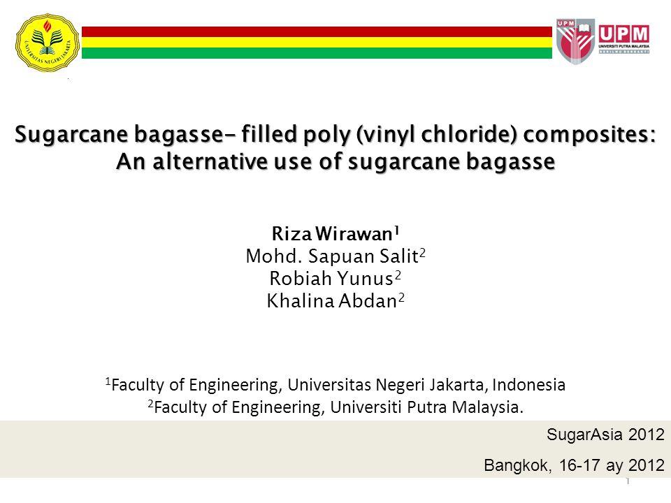 1 Sugarcane bagasse- filled poly (vinyl chloride) composites: An alternative use of sugarcane bagasse Riza Wirawan 1 Mohd. Sapuan Salit 2 Robiah Yunus