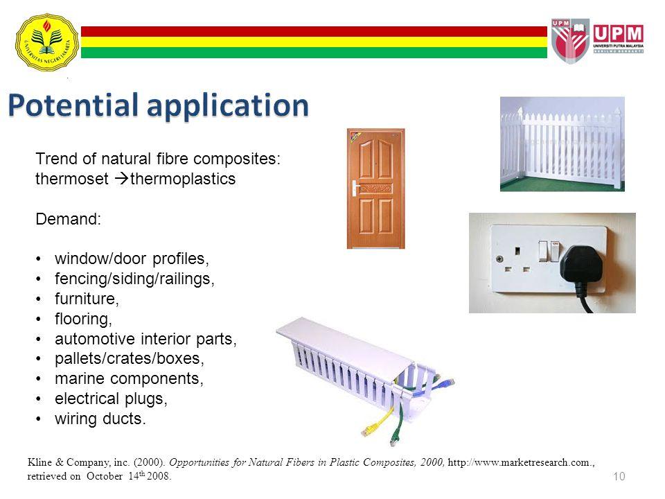 10 Trend of natural fibre composites: thermoset thermoplastics Demand: window/door profiles, fencing/siding/railings, furniture, flooring, automotive