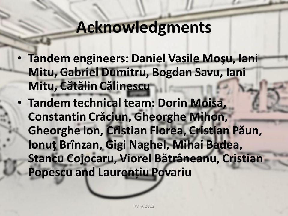 Acknowledgments Tandem engineers: Daniel Vasile Moşu, Iani Mitu, Gabriel Dumitru, Bogdan Savu, Iani Mitu, C ă t ă lin C ă linescu Tandem technical tea