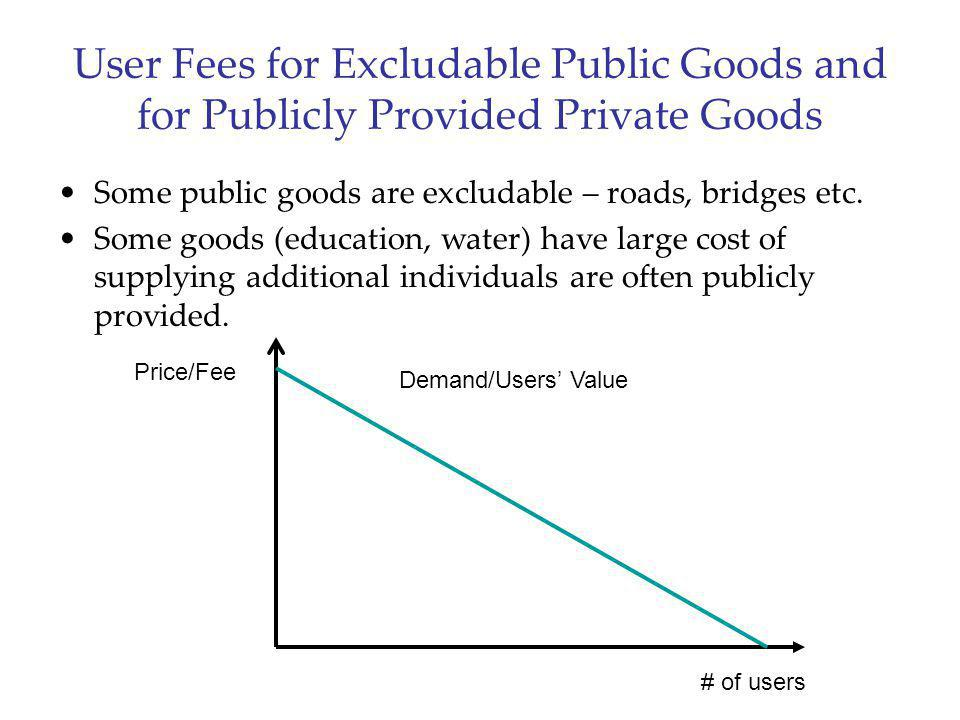 User Fees for Excludable Public Goods and for Publicly Provided Private Goods Some public goods are excludable – roads, bridges etc. Some goods (educa