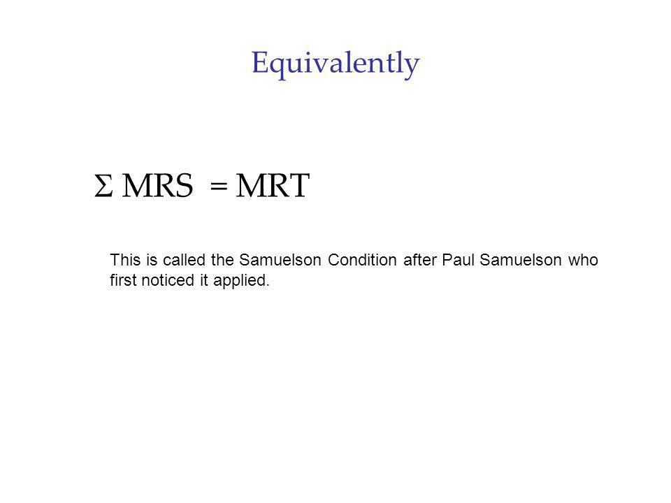 Equivalently MRS = MRT This is called the Samuelson Condition after Paul Samuelson who first noticed it applied.
