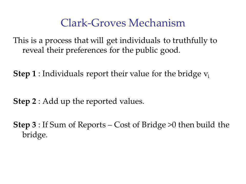 Clark-Groves Mechanism This is a process that will get individuals to truthfully to reveal their preferences for the public good. Step 1 : Individuals
