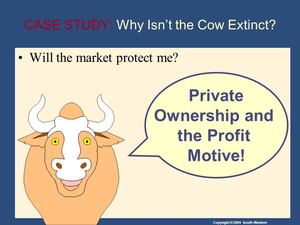 Copyright © 2004 South-Western CASE STUDY: Why Isnt the Cow Extinct.