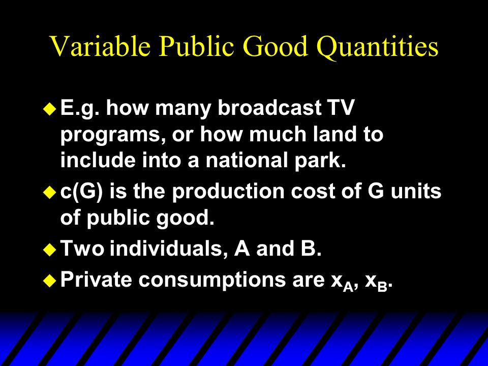 Variable Public Good Quantities u Budget allocations must satisfy