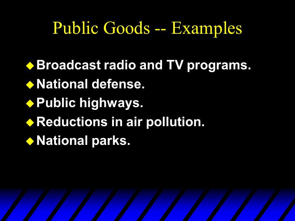 Public Goods -- Examples u Broadcast radio and TV programs.