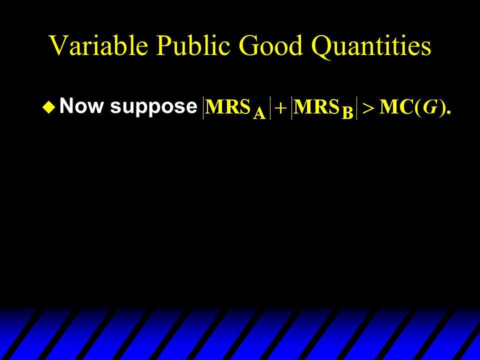 Variable Public Good Quantities u Now suppose